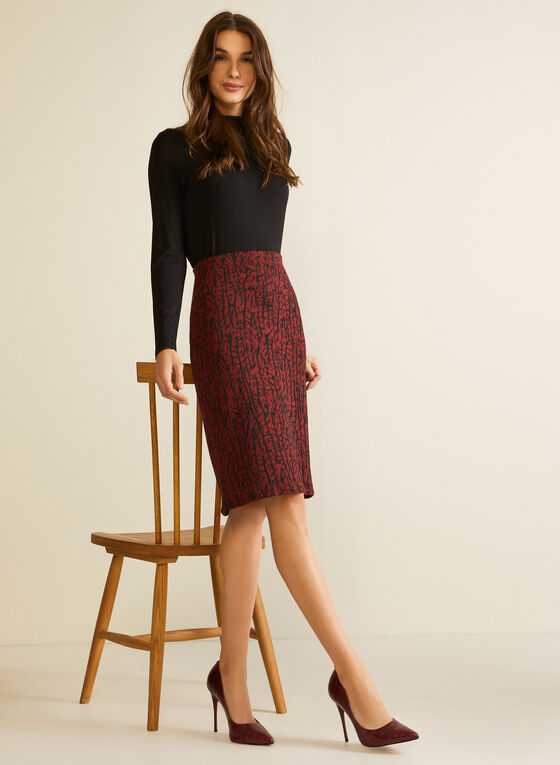 Abstract Print Pencil Skirt, Red