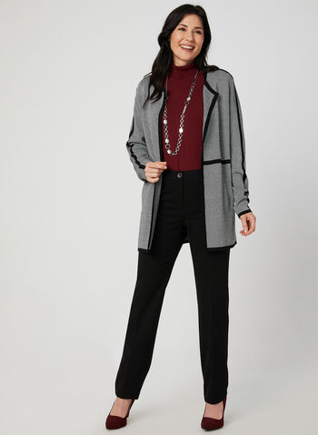 Open Front Knit Cardigan, Grey,  cardigan, knit, open front, long sleeves, contrast trim, fall 2019, winter 2019