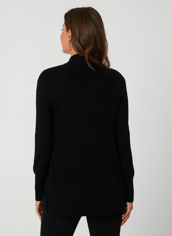 Long Textured Cardigan, Black
