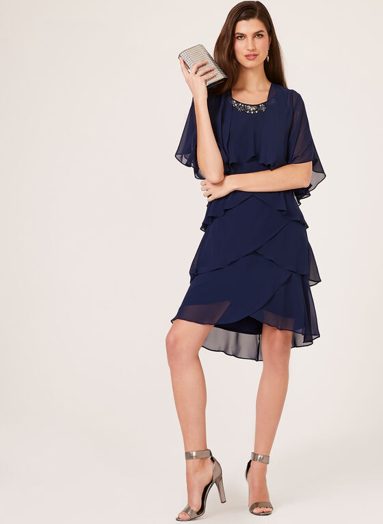 Tiered Chiffon Dress With Bolero, Blue, hi-res