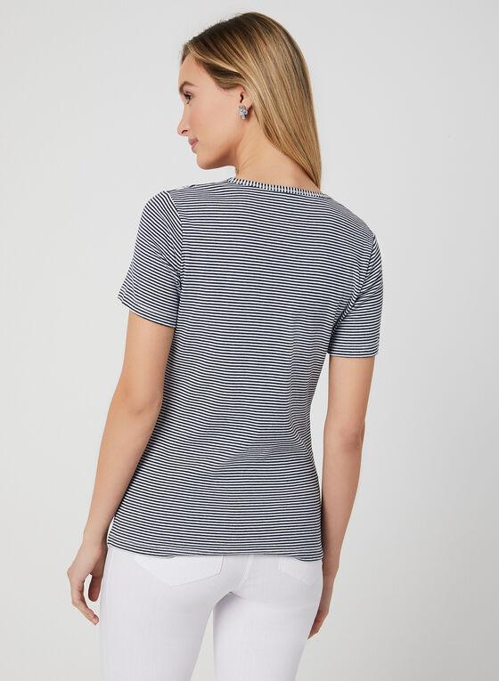 T-shirt en coton à imprimés multiples, Bleu, hi-res