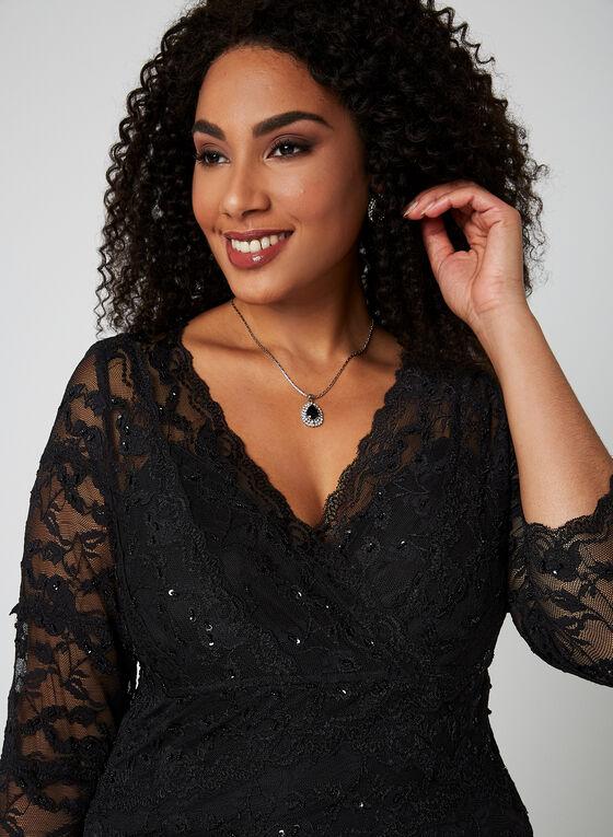 Marina - Robe en dentelle à broderies, Noir, hi-res