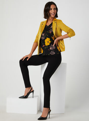 Cold Shoulder Floral Print Top, Black, hi-res,  floral print blouse