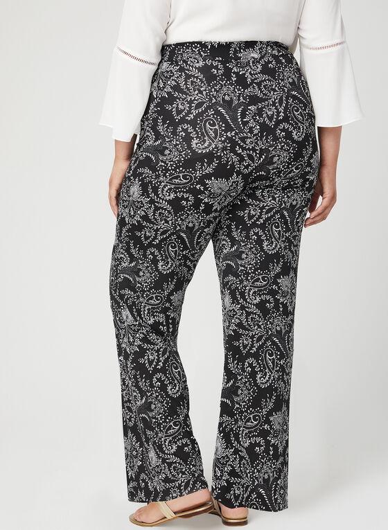 Pantalon coupe moderne à motif tapisserie, Noir, hi-res