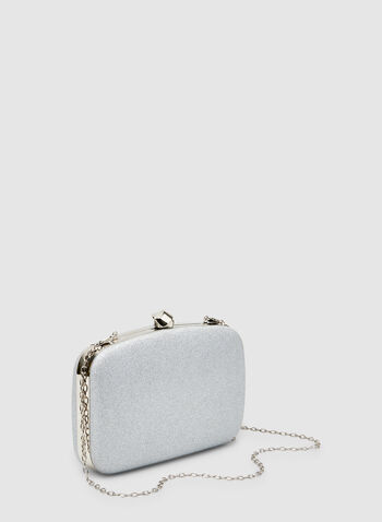 Glitter Box Clutch, Silver, hi-res,  glitter, chain, handheld, fall 2019, winter 2019