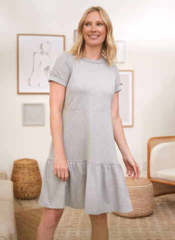 Ruffled Hem Dress, Grey,  spring summer 2021, dresses, made in Canada, crew neck, round neck, rolled cuffs, ruffles, french terry
