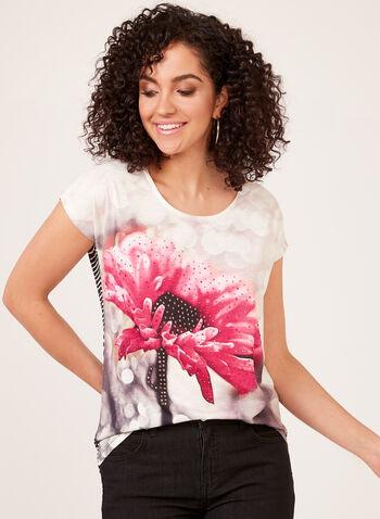 Floral Print Crystal Detail T-Shirt, Multi, hi-res