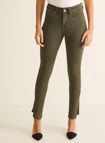 Jeans à jambe étroite et fentes , Vert,  jeans, jambe étroite, longueur cheville, coton, poches, printemps été 2020