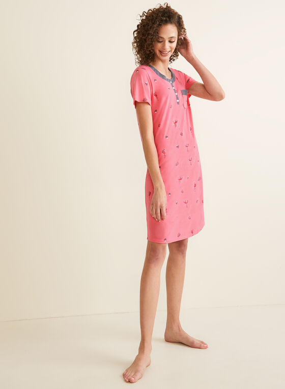 Claudel Lingerie - Printed Nightgown , Pink