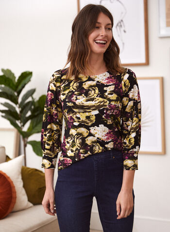 Floral Print Top, Black,  top, 3/4 sleeves, floral print, boat neck, made in Canada, fall winter 2021