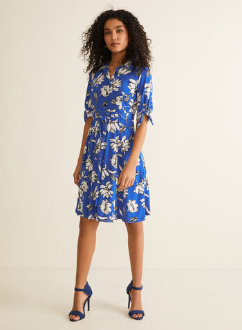 Floral Print Shirt Collar Dress, Blue,  day dress, elbow sleeves, shirt collar, floral, tie belt, jersey, spring summer 2020