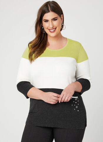 Colour Block Knit Sweater, Grey, hi-res