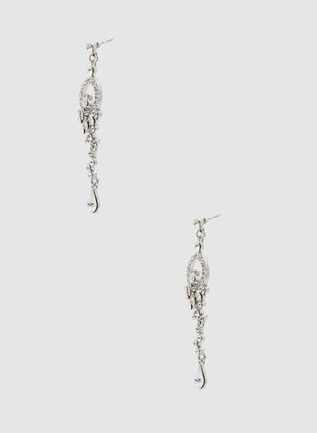 Linear Crystal Dangle Earrings, Silver,  spring 2019