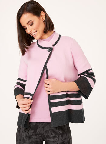 Double Knit Stripe Print Cardigan, Purple, hi-res