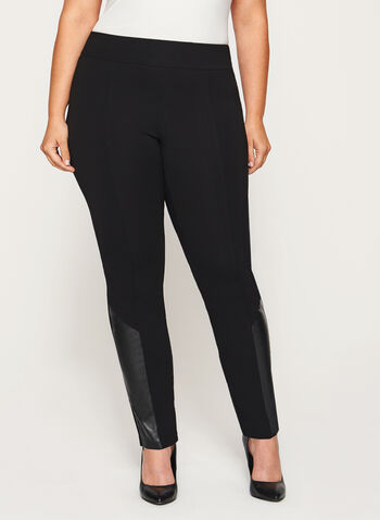 Ponte Pull-On Slim Leg Zipper Trim Pants, Black, hi-res