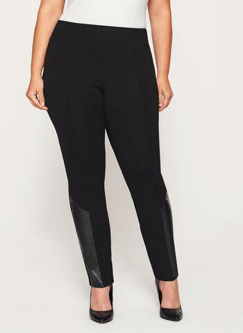 Pantalon pull-on à jambe étroite et détails similicuir, Noir, hi-res