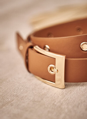 Eyelet Detail Belt, Brown,  fall winter 2021, accessory, accessories, belt, basic, essential, buckle, gold metal, faux leather, eyelet,