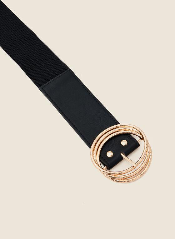 Triple Buckle Wide Elastic Belt, Black