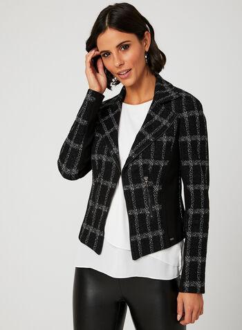Vex - Veste style perfecto à larges carreaux, Noir, hi-res