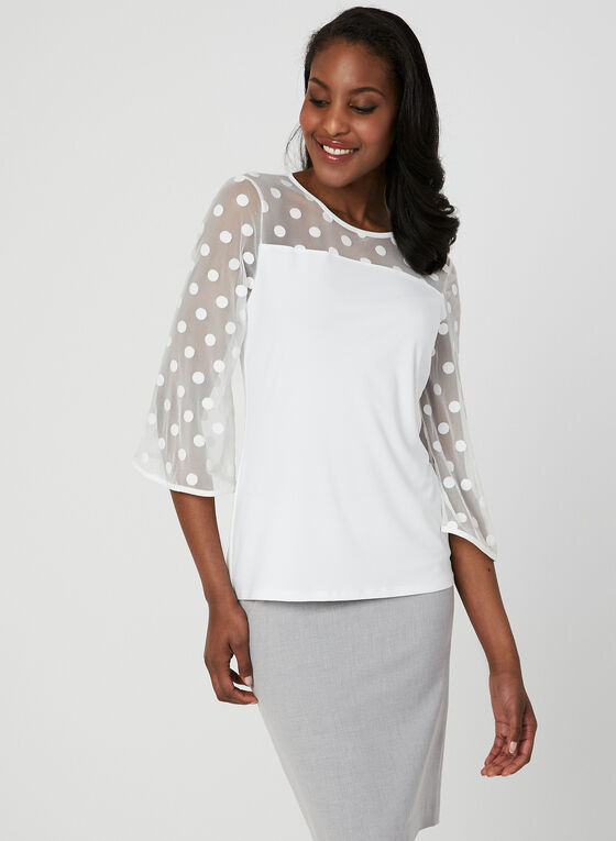 Polka Dot Mesh Top, Off White, hi-res