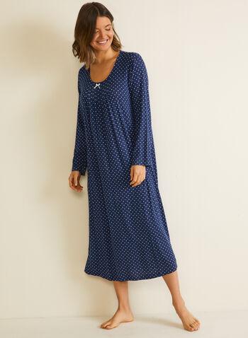 Robe de nuit à motif pois, Bleu,  automne hiver 2020, robe de nuit, chemise de nuit, pyjama