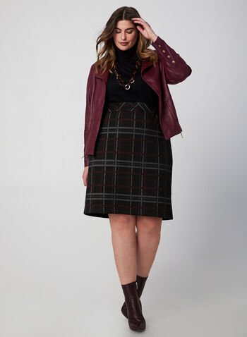 Plaid Pencil Skirt, Black,  fall winter 2019, plaid print, pencil skirt, pull-on