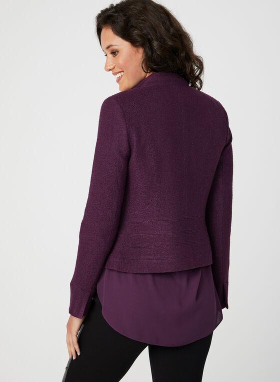 Veste zippée en laine mélangée, Violet, hi-res