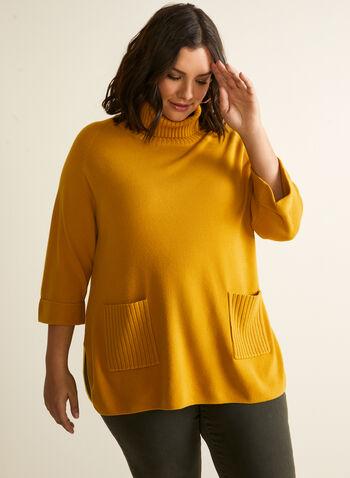 Pull tunique à col roulé , Jaune,  chandail, pull, tunique, manches longues, tricot côtelé, col roulé, tricot, automne hiver 2020