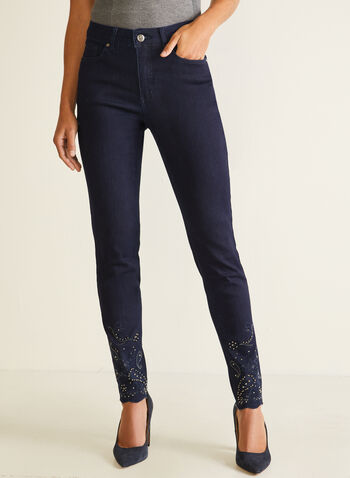 Embellished Slim Leg Jeans, Blue,  fall winter 2020, jeans, denim, embroidery, beads, pockets