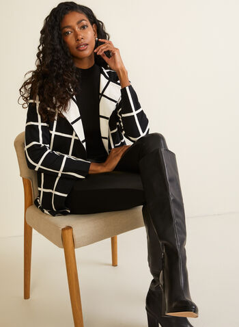 Checkerboard Print Cardigan, Black,  fall winter 2020, checkerboard, contrast, cardigan, long sleeves, open front, pockets