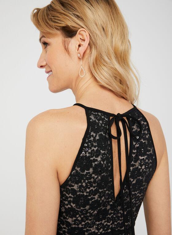 Sequin Lace Jersey Dress, Black, hi-res