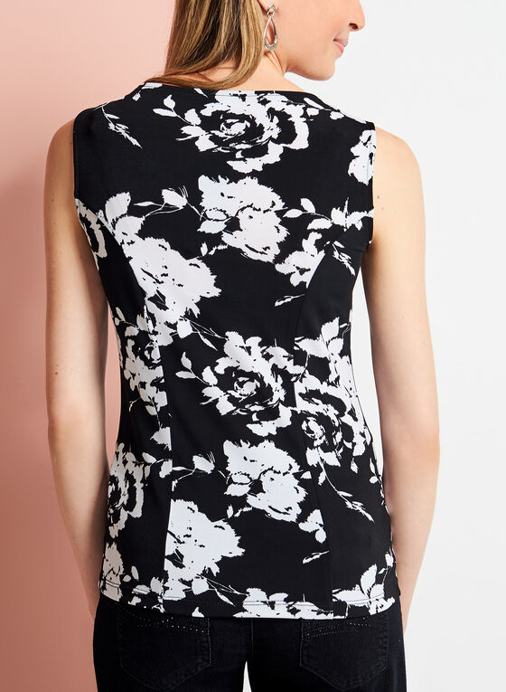 Sleeveless Floral Print Jersey Top, Black, hi-res