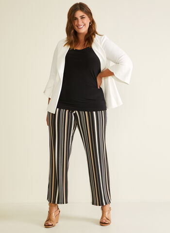 Stripe Print Wide Leg Pants, Black,  pants, pull-on, stripe print, wide leg, modern fit, jersey, spring summer 2020