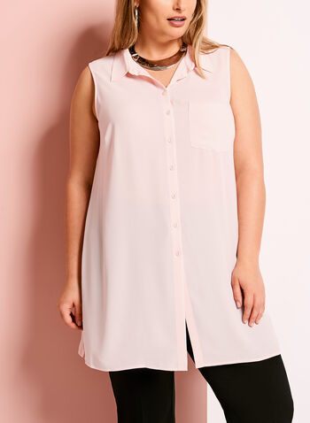 Button Down Sleeveless Tunic, Pink, hi-res