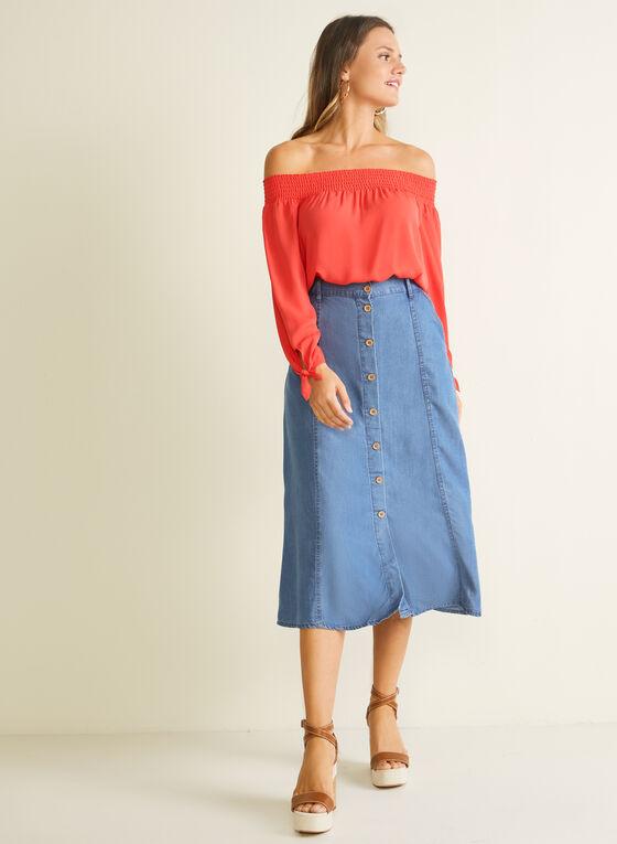 Blossom - Button Down Tencel Midi Skirt, Blue