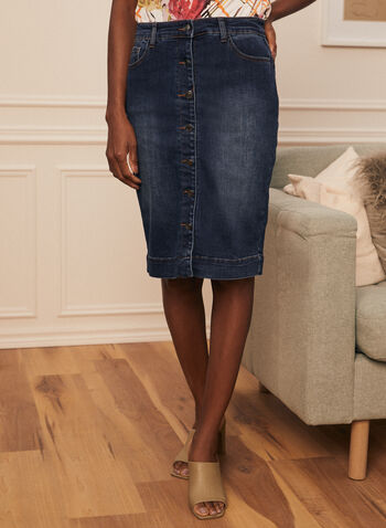 Button Front Denim Straight Skirt, Blue,  skirt, denim ,straight, button front, spring summer 2021