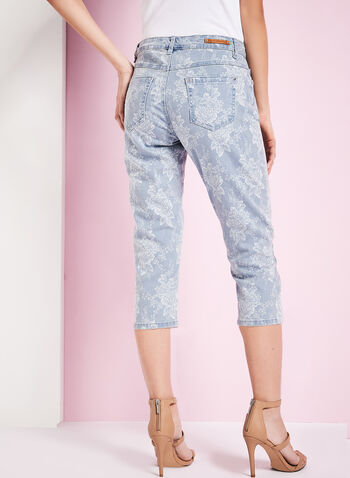 Simon Chang - Floral Print Chambray Capris, Blue, hi-res
