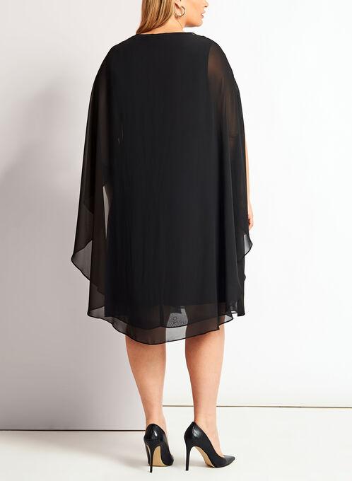 Robe en crêpe avec cape et détails couture, Noir, hi-res