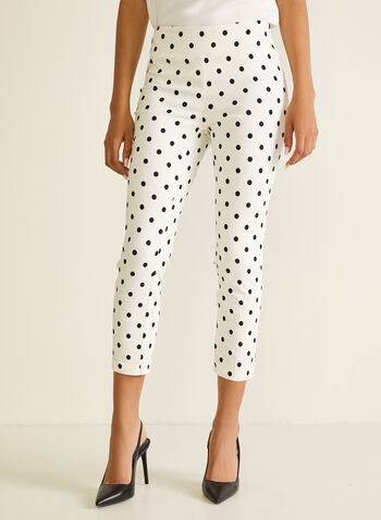Polka Dot Pull-On Capris, White,  capri, pull-on, polka dot, slim leg, spring summer 2020