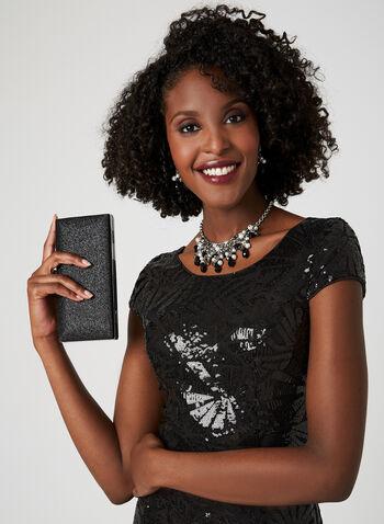 Fit & Flare Sequin Dress, Black, hi-res