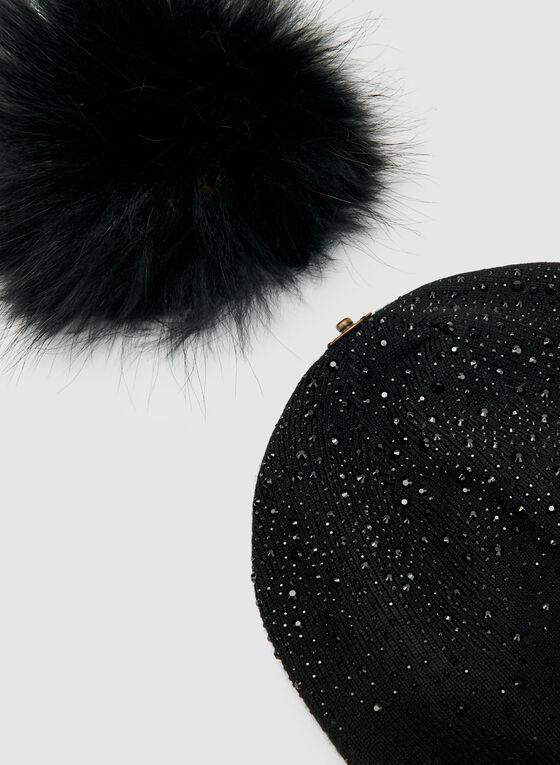Tuque à strass et pompon amovible, Noir, hi-res