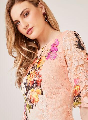 Floral Print Lace Dress, Orange, hi-res