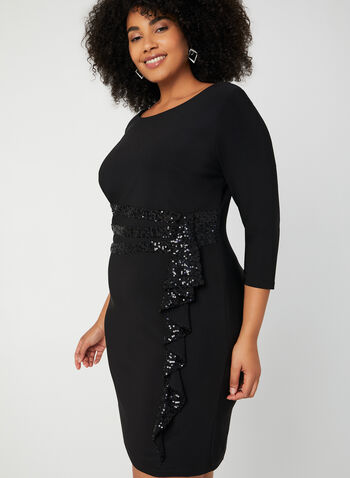 3/4 Sleeve Sequin Dress, Black, hi-res,  sequin, 3/4 sleeve, round neck, completely lined, fall 2019, winter 2019