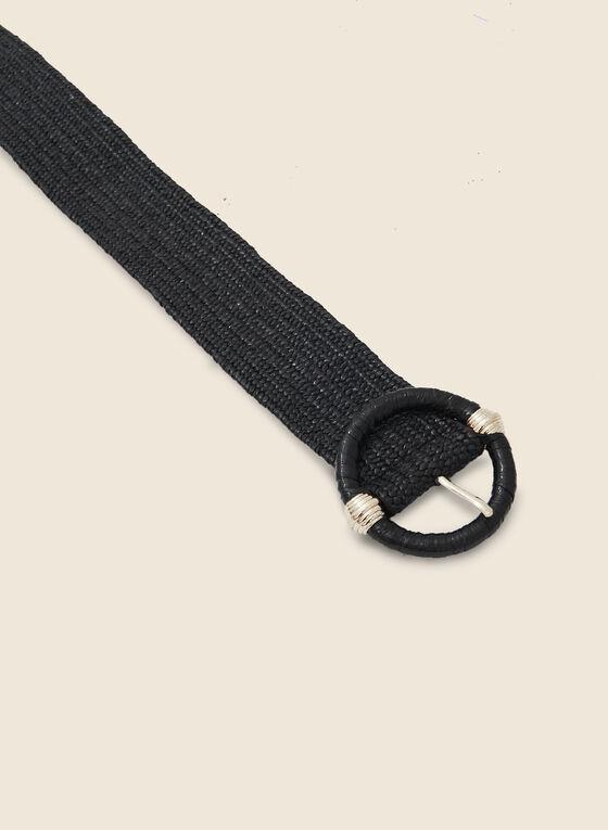 Braided Belt With Round Buckle, Black