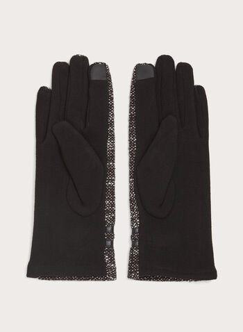 Pompom Knit Gloves, Black, hi-res
