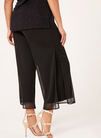 Wide Leg Pull-On Mesh Pants, Black, hi-res