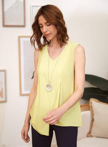 Sleeveless Asymmetrical Layered Top, Green,  spring summer 2021, tunic, top, blouse, tunic, asymmetric, asymmetrical, layered, made in Canada, panel, V neck, sleeveless