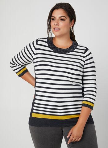 Stripe Print Sweater, Grey, hi-res,  stripe print, fall winter 2019, stretchy knit, 3/4 sleeves