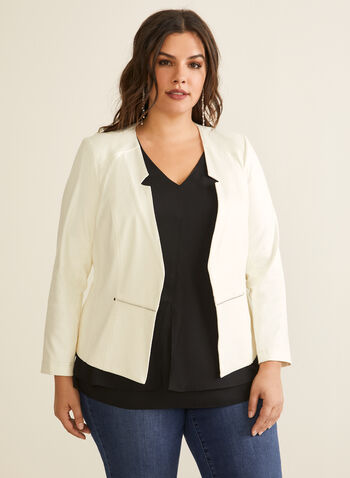Open Front Faux Suede Blazer, Off White,  blazer, inverted collar, open front, faux suede, long sleeves, shoulder pads, zip, rivets, spring summer 2020