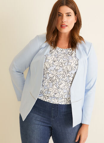 Open Front Faux Suede Blazer, Blue,  blazer, inverted collar, open front, faux suede, long sleeves, shoulder pads, zip, rivets, spring summer 2020